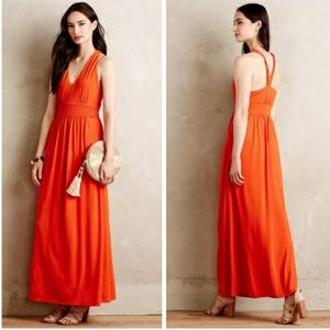 Maeve Anthropology orange maxi dress 8